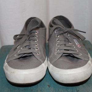 Superga Grey Cotu Lace-Up Sneakers- Size 40 (US 9)